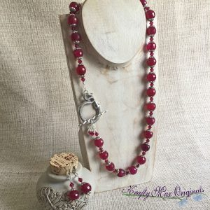 Deep Raspberry Gemstone and Swarovski Crystal Necklace Set with Large Snake Toggle Clasp