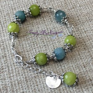 Green and Blue Crackle and Sparkle Bracelet