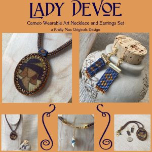 Lady DeVoe Cameo Wearable Art Necklace and Earrings Set