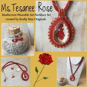 Ms Tesanee Rose Beadwoven Wearable Art Necklace and Earrings