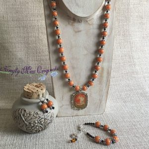 Orange Egyptian Beauty Necklace Bracelet and Earrings Set from Grandmothers Stash