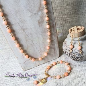 Peach Glass and Gemstone Simplicity – 3 Piece – Necklace, Bracelet and Earrings Set