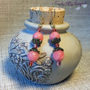 Pink/Peach and Gold Earrings with Swarovski Crystals