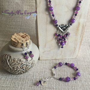 Many Layers of Purple with Fun Dangle – 3 Piece Necklace Set