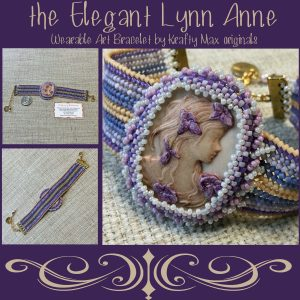 the Elegant Lynn Anne – Beadwoven Wearable Art Bracelet with Cameo by DeeCees Wire Wonders and Cameos