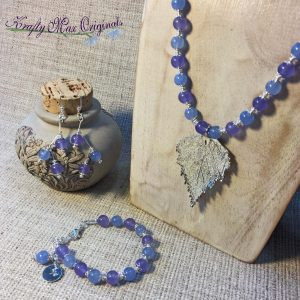 Blue and Purple Stone Necklace with Silver Plated Leaf Necklace, Bracelet and Earrings Set