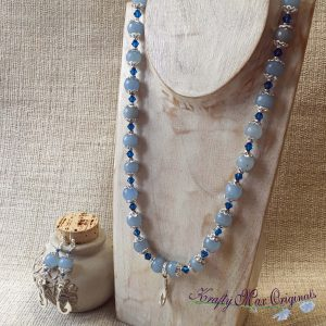 Blue Swarovski Crystal and Gemstone Necklace Set with Fish Hooks (Inspired by Moana) Necklace Set
