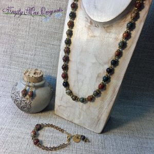 Brown Green Red Grey and Topaz – 3 Piece Necklace Set