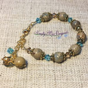 Brown and Teal Bracelet with Gold Plated Bracelet