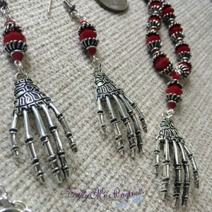 Deep Red Swarovski Crystals and Bone Hands Necklace Set