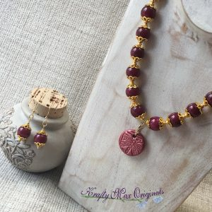 Dragonfly and Flower Ceramic and Burgandy with Gold Necklace Set