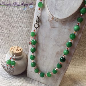 Green Gemstone and Orange Swarovski Crystals Necklace Set with Front Clasp