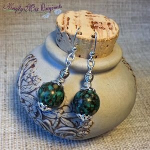 Green and Silver with 'little fish' Earrings