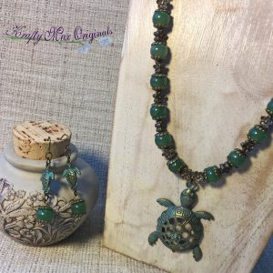 Green with Flowers and Turtles Necklace and Earrings Set