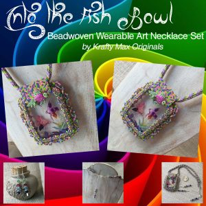 Into the Fish Bowl Beadwoven Wearable Art Necklace Set with Center from Wildlife Plastics