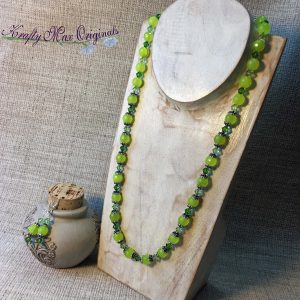 Lime Green and 2 Tone Green Swarovski Crystals Necklace Set