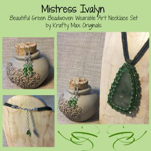 Mistress Ivalyn Beadwoven Wearable Art Necklace Set with Swarovski Crystals