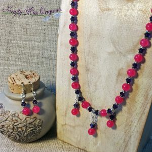 Bright Pink with Purple Swarovski Crystals Necklace and Earrings Set