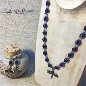 Purple and Gunmetal Gemstone and Swarovski Crystal Necklace Set with Dragonfy (Dragonflies)