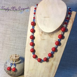 Red White and Blue with Swarovski Crystals Necklace and Earrings Set