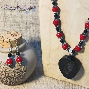 Red and Black with LARGE Stone Drop (with Crystals) Necklace and Earrings Set