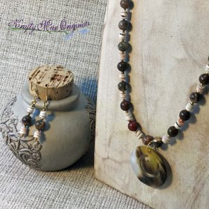 Shell and Stone Necklace and Earrings Set