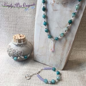 Teal Gemstones and Swarovski Crystal 3 Piece Necklace Bracelet and Earrings Set