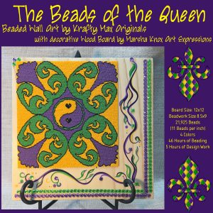 The Beads of the Queen – Beadwoven Wall Art with Hand Painted Wood by Marsha Knox Art Expressions
