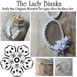 The Lady Bianka – White Wearable Art Necklace and Earrings Set