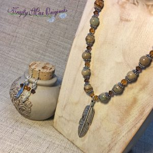 Topaz and Cream Swarovski Crystals and Gemstones with Feather Necklace Set