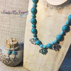 Turquoise Magnesite with Silver Plated Elephants Necklace Set
