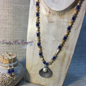 Blue Gemstone with Mother of Pearl Beads Necklace with Center Shell from Grandmothers Stash