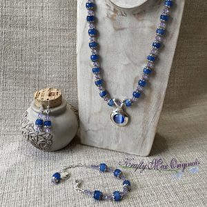 Blue on Blue Catseye with Soft Swarovski Crystals Necklace Bracelet and Earrings Set