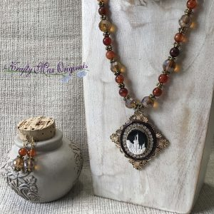 Castle Cameo in the Brown – Orange Necklace Set