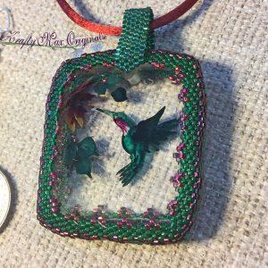 Hummingbird Wearable Art Necklace Set with Center from Wildlife Plastics