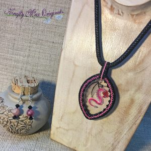 PINK DRAGON Wearable Art Necklace Set with Center from Wildlife Plastics