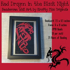 Red Dragon in the Black Night Beadwoven Wall Art