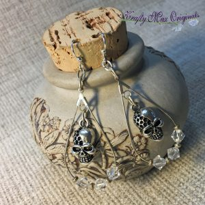 Skulls and Clear Swarovski Crystal Earrings