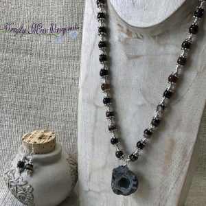 Small Geode With Gemstones Necklace and Earrings Set