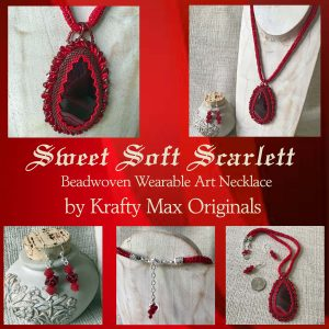 Sweet Soft Scarlett Beadwoven Wearable Art Necklace and Earrings Set