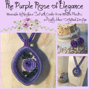 The Purple Rose of Elegance Wearable Art Necklace Set with Center from Wildlife Plastics