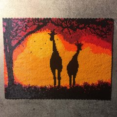 Giraffes at Sunset Wall Art (working), Teal Soft Dangle Necklace and Skull Earrings!