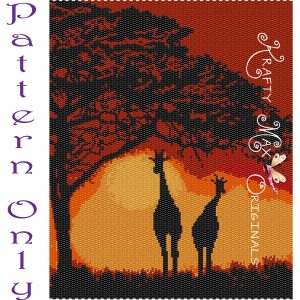 Giraffes at Sunset on the Savanna Wall Art – PATTERN ONLY