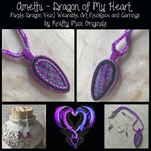 Amethi – Dragon of My Heart (Purple Dragon Vein) Wearable Art Necklace and Earrings