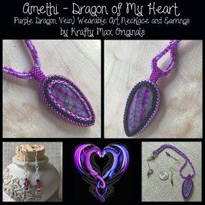 Amethi – Dragon of My Heart (Purple Dragon Vein) Wearable Art Necklace and Earrings