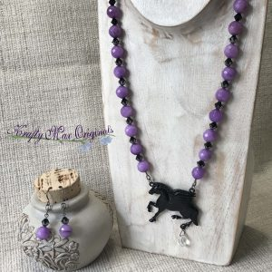 Black Horse and Purple Faceted Gemstones Necklace and Earrings Set