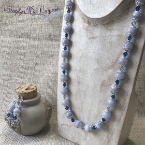 Blue Lace Agate and Swarovski Crystals Necklace and Earrings Set