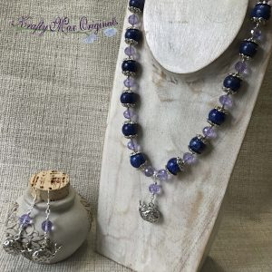 Blue Whale Necklace and Earrings with Gemstones and Czech Crystals