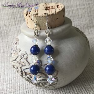Blue Swarovski Pearls and Clear Swarovski Bi Cone Earrings