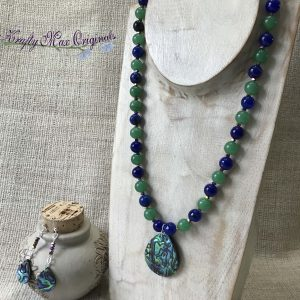 Blue and Green Shell Necklace and Earrings Set